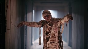 Scary ancient mummy in bandages in haunted house. Guy in thematic halloween costume doing a dance with broken moves of mummy zombie 4k footage