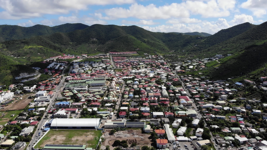 Aerial footage of marigot in the caribbean island of st.maarten   Shutterstock HD Video #1054718669