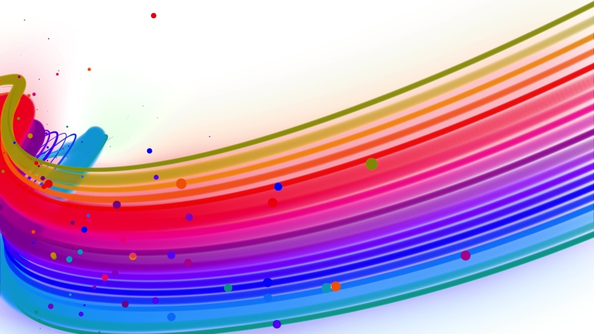 Multi-colored waving lines or ribbon of beautiful stripes fly in the air, smoothly oscillation and wave on white background. 3d abstract looped creative 4k background with luma matte. | Shutterstock HD Video #1054718753
