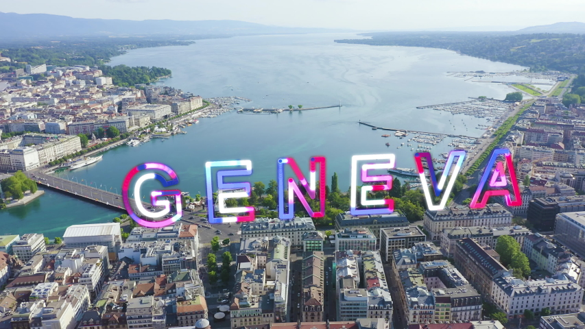 Inscription on video. Geneva, Switzerland. Flight over the central part of the city. Lake Geneva. Glitch effect text, Aerial View