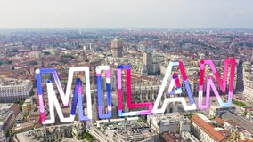 Inscription on video. Milan, Italy. Roofs of the city aerial view. Spiers Milan Cathedral. Cloudy weather.. Glitch effect text, Aerial View, Point of interest