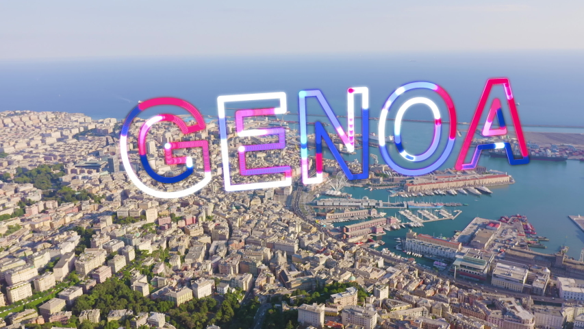 Inscription on video. Genoa, Italy. Central part of the city, aerial view. Ships in the port. Glitch effect text, Aerial View | Shutterstock HD Video #1054719269