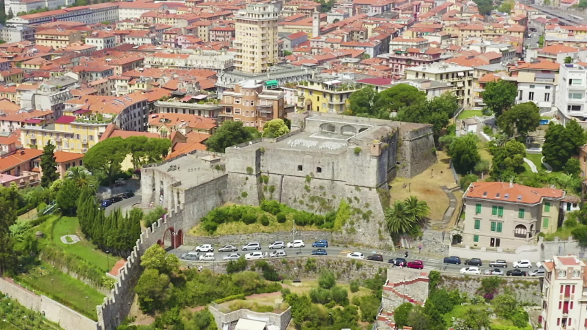 Dolly zoom. La Spezia, Italy. Castle of San Giorgio. View from above, Aerial View | Shutterstock HD Video #1054719272