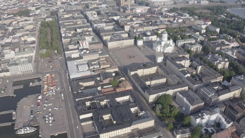 D-Log. Helsinki, Finland. City center aerial view. Helsinki Cathedral. Senate square. Market Square, Aerial View, Point of interest