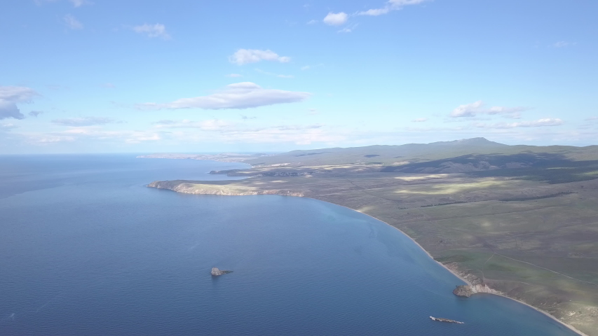 D-Cinelike. Russia, Lake Baikal, Bay Small Sea. View of the northern part of the island Olkhon, Aerial View