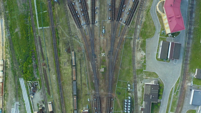 Rail interchange yard, the view from top vertically downwards. A large transport hub for making up trains. | Shutterstock HD Video #1054721171