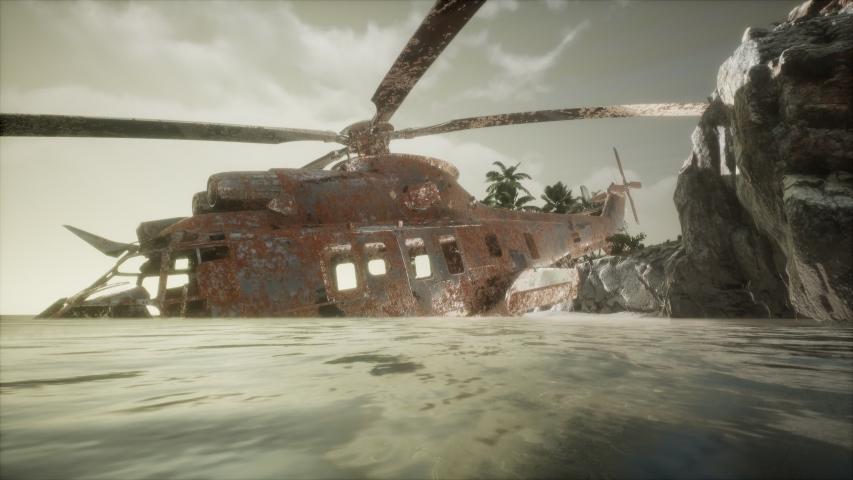 Old rusted military helicopter near the island.