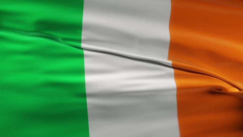 Ireland flag waving on wind seamles loop 3d animation. 4k resolution | Shutterstock HD Video #1054722887