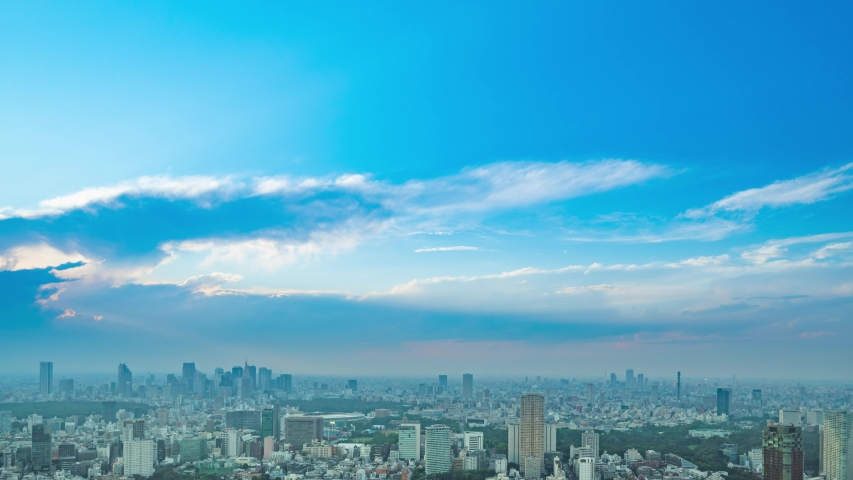 Time lapse of urban cityscape and blue sky. | Shutterstock HD Video #1054723052
