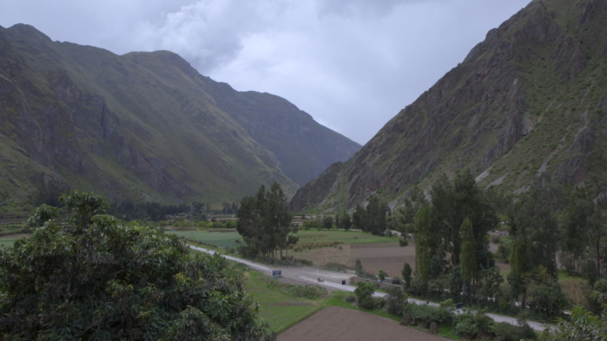 Mountains surrounding highway 28B leading from Urubamba to Ollantaytambo in the Sacred Valley in Peru