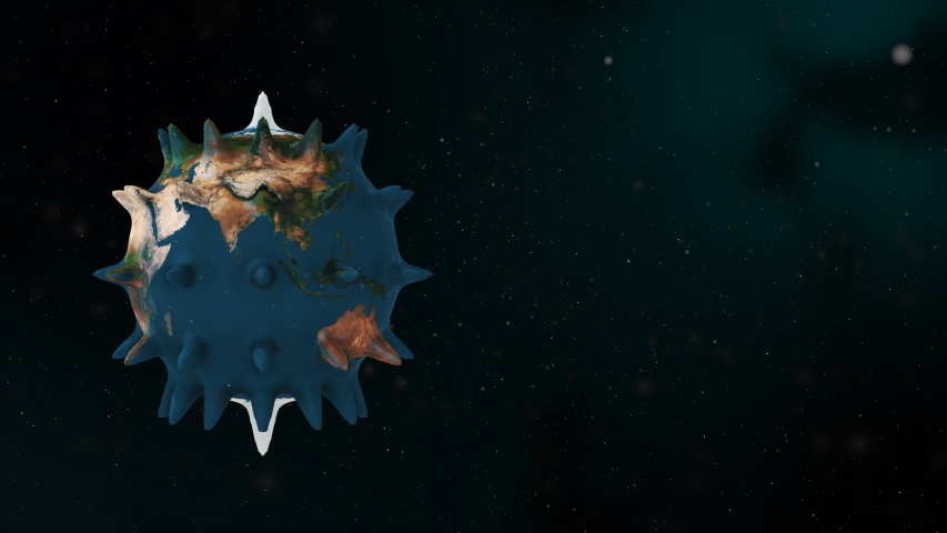The planet earth transforms to the virus and turns around in the blue galaxy space. | Shutterstock HD Video #1054725743