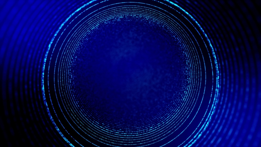 4k seamless looped science-fiction blue background with radial structures, particles oscillate and move smoothly, like element of information graphics on sci-fi panel HUD. Rings 16   Shutterstock HD Video #1054726265