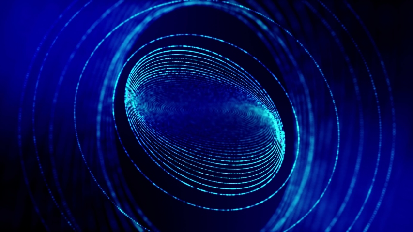 4k seamless looped science-fiction blue background with radial structures, particles oscillate and move smoothly, like element of information graphics on sci-fi panel HUD. Rings   Shutterstock HD Video #1054726268