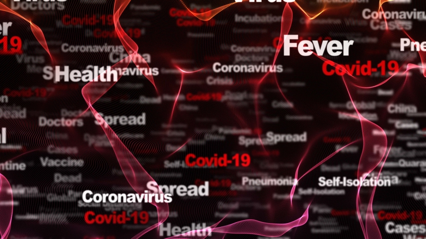 Covid-19, Coronavirus Keywords Animation, Background, Loop, 4k  | Shutterstock HD Video #1054726520