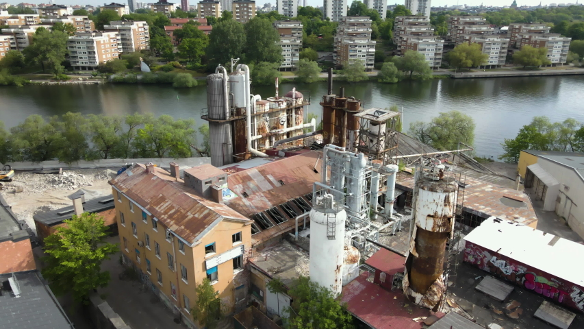 Aerial View Old Rusty Carbonic Industry On Seaside, Liljeholmen Stockholm Sweden