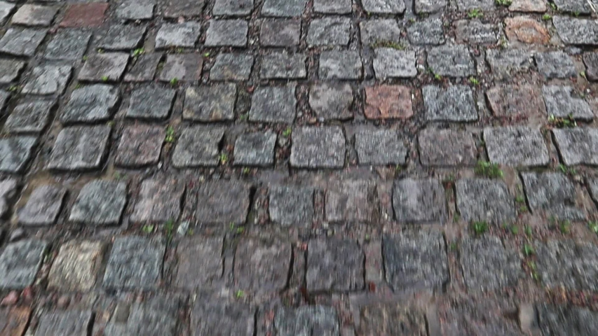 A wet sidewalk creates a shiny backdrop. Stone road, paving stones in the old city during the rain during the daytime. Vertical Praming of a First Person Walking Person. | Shutterstock HD Video #1054728299