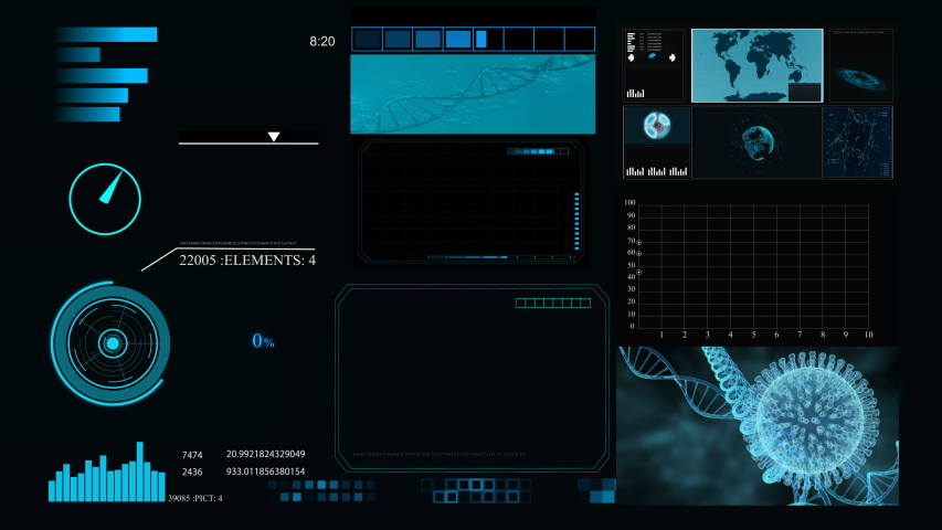 HUD infographic elements with virus and DNA structure. Futuristic user interface. | Shutterstock HD Video #1054728437