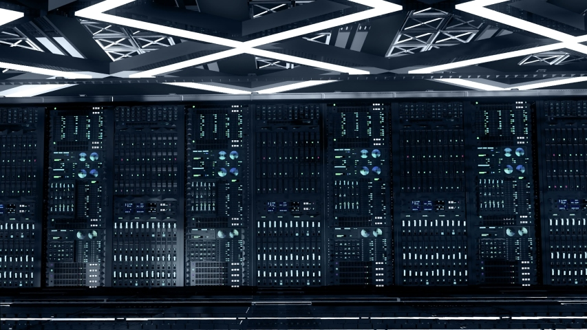 Server room. Powerful servers behind glass panels in a data center or ISP.  Network and data servers. Camera moves dolly shot, seamless loop. 4K high quality animation Royalty-Free Stock Footage #1054729322