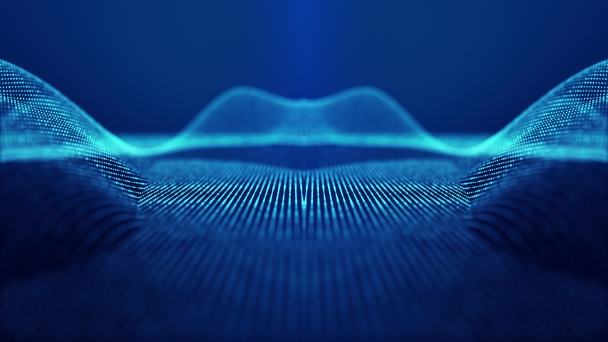 Sci-fi abstract theme with particle mirror waves. 4k looped abstract blue background of glow particles form curved lines, surfaces simmetrical structures. Digital bg with particle hologram. | Shutterstock HD Video #1054729571