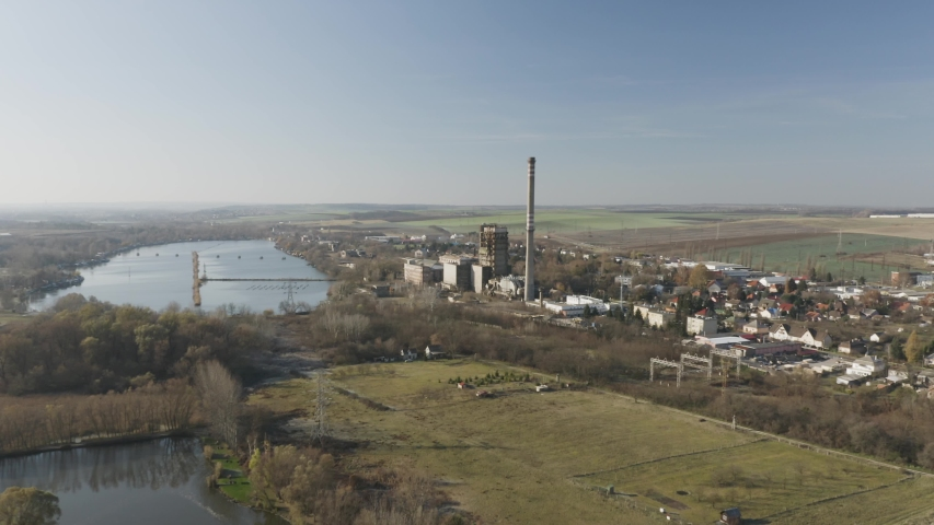 Old abandoned power plant aerial drone view   Shutterstock HD Video #1054729808