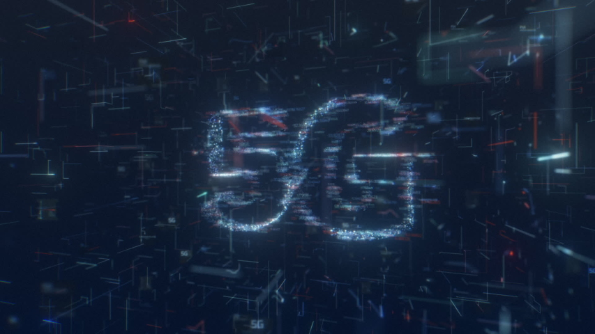 """This stock motion graphic showing """"5G"""" surrounded by swirling particles on a HUD screen. 