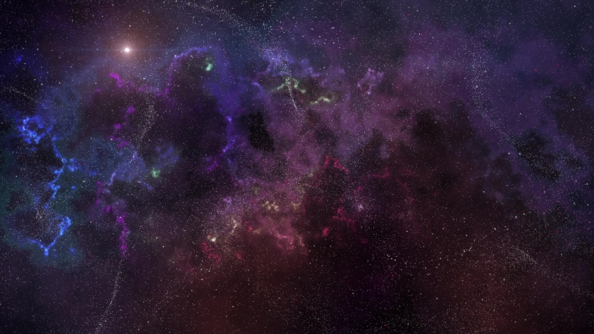 Black space emptiness with mega clouds of nebula from molecular gas, flashing stars of various colors and myriads of small stars in the distance.  Resolution 3840x2160, Duration 20 second, looped. | Shutterstock HD Video #1054730036