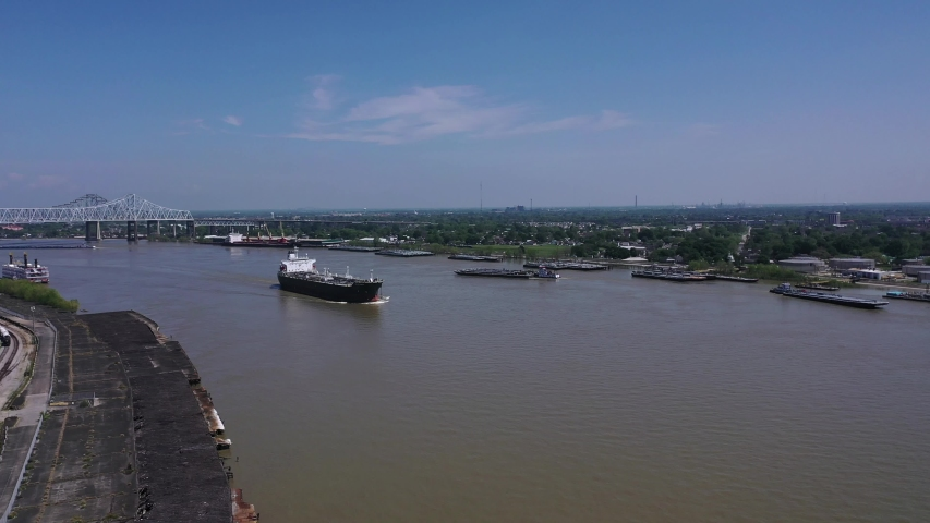 Busy Mississippi River in New Orleans, Louisiana