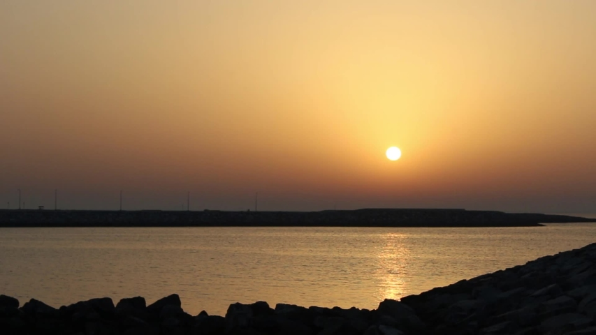 Beach sunset in meraas dubai