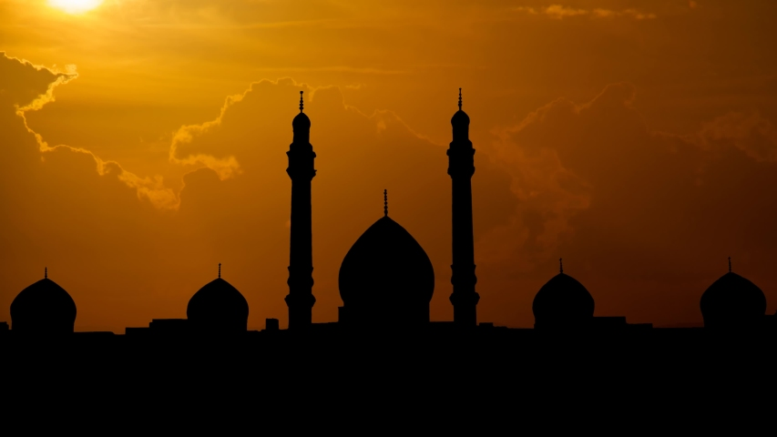 The Jamkaran Mosque at Sunset: Time Lapse with Red Clouds and Fiery Sky, Shia Islam Sacred Site, Qom, Iran | Shutterstock HD Video #1054731515