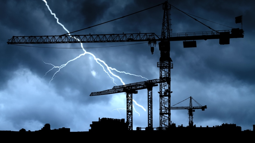 Construction Site with Big Tower Crane in Silhouette, Thunderstorm and Lightning Time Lapse , Under Construstion Concept | Shutterstock HD Video #1054731518