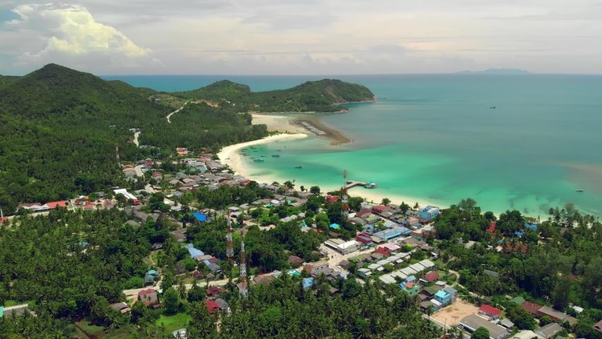 Aerial view of Chalok Lam beach at Koh Phangan island in Thailand | Shutterstock HD Video #1054732784