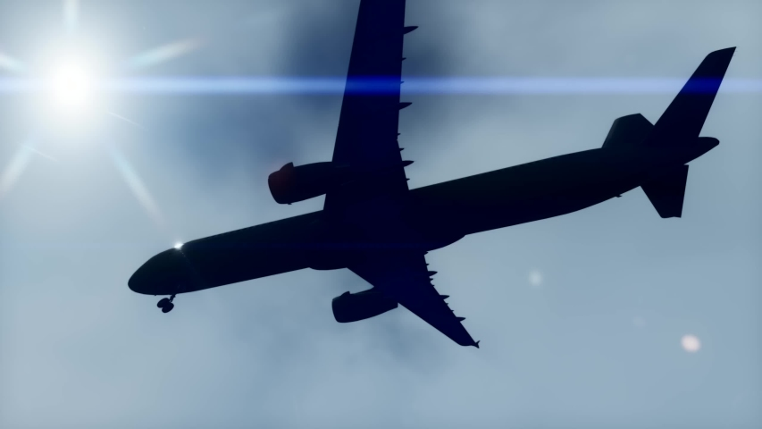Silhouette of an airplane landing. 3D illustration, 3D rendering. | Shutterstock HD Video #1054732988