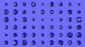 Violet abstract 3D animation of geometric shapes. Modern colored background with polygon. loop animation