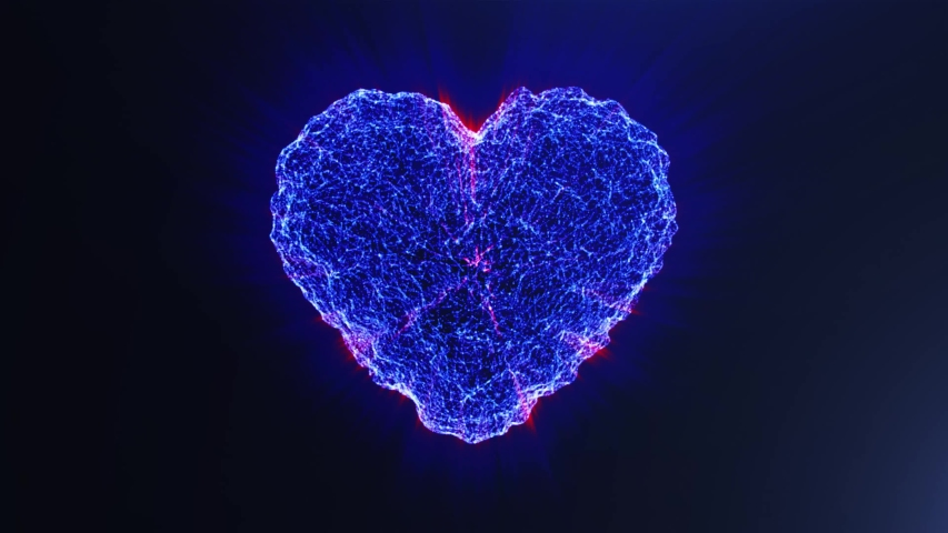 Blue heart. Valentine's day. Beautiful holiday animation - high technology. 3D rendering. Seamless loop 4k video.  | Shutterstock HD Video #1054733117