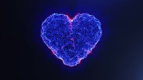 Blue heart. Valentine's day. Beautiful holiday animation - high technology. 3D rendering. Seamless loop 4k video.