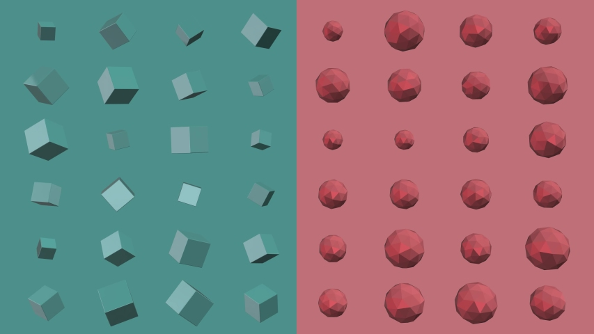 Green-blue and red abstract 3D animation of geometric shapes. Modern colored background with squares and polygon. loop animation motion graphics background 4K.