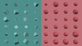 Green and red abstract 3D animation of geometric shapes. Modern colored background with squares and polygon. loop animation 4K 60fps.