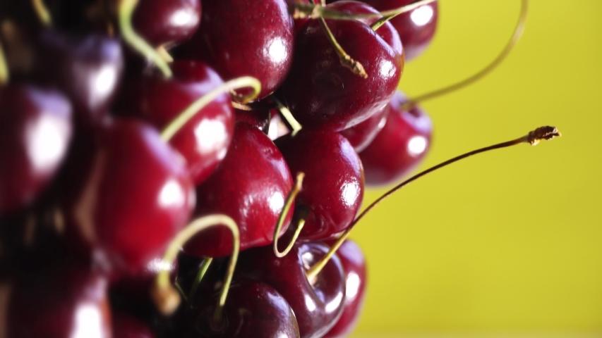 Fresh juicy red cherry berry rotate. Vertical orientation | Shutterstock HD Video #1054733567