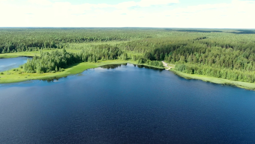 Flight over the taiga forest lake | Shutterstock HD Video #1054734071