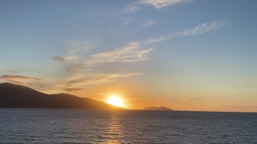 Scenic sunset over Ioninan sea in Vlore Albania time lapse | Shutterstock HD Video #1054734080
