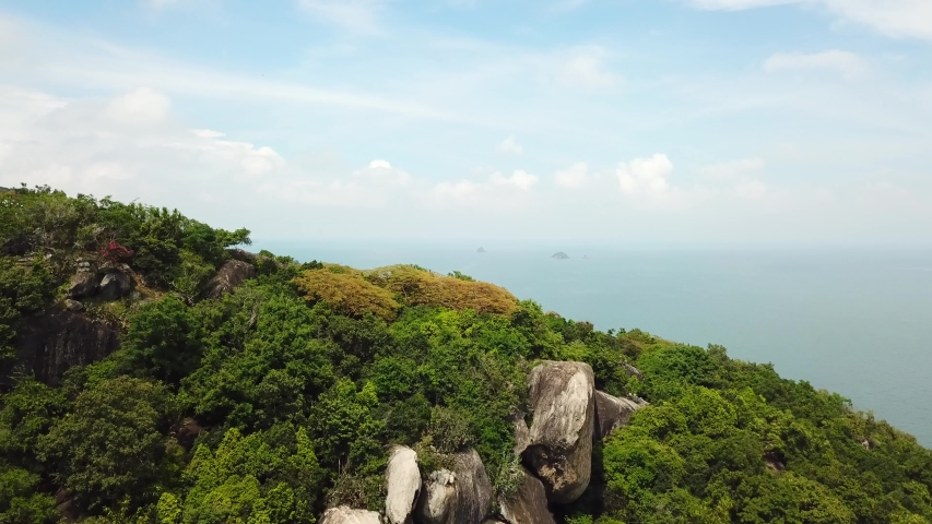 Aerial view of the gorgeous tropical mountains and the ocean. Hua Hin, Thailand | Shutterstock HD Video #1054734104
