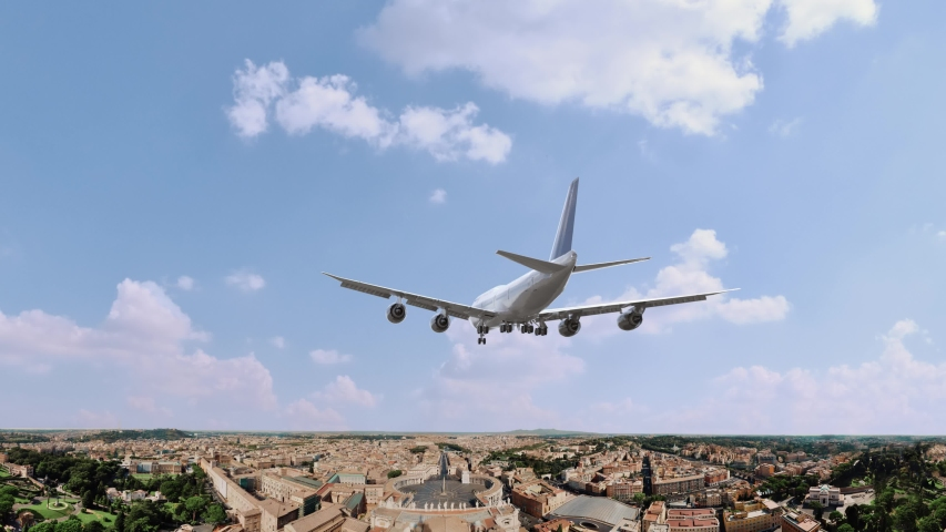 Airplane Landing in Rome Italy | Shutterstock HD Video #1054734986