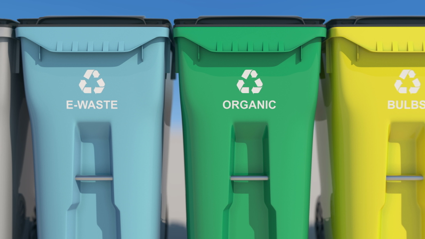 Plastic bins, garbage cans, recycling. Colored boxes, waste sorting, metal, plastic, glass, bulbs, organic. Colorful waste, with recycling sign. Saving the natural environment. An ecological approach  | Shutterstock HD Video #1054735202