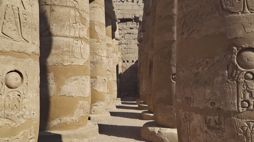 Luxor Temple in Luxor, ancient Thebes, Egypt. Luxor Temple is a large Ancient Egyptian temple complex located on the east bank of the Nile River and was constructed approximately 1400 BCE. | Shutterstock HD Video #1054735247