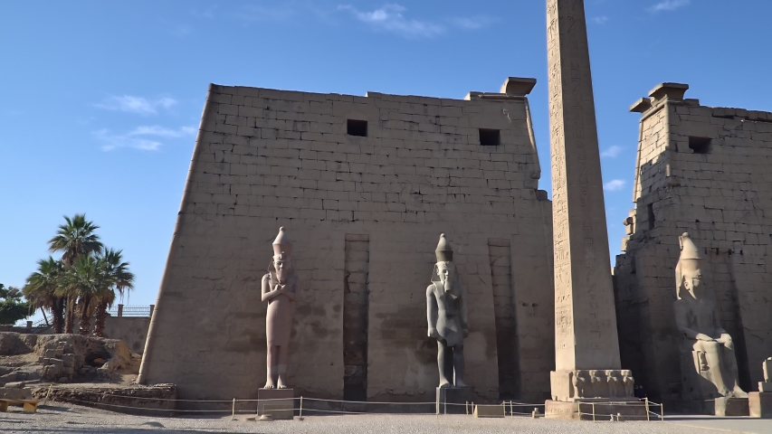 Luxor Temple in Luxor, ancient Thebes, Egypt. Luxor Temple is a large Ancient Egyptian temple complex located on the east bank of the Nile River and was constructed approximately 1400 BCE. | Shutterstock HD Video #1054735250