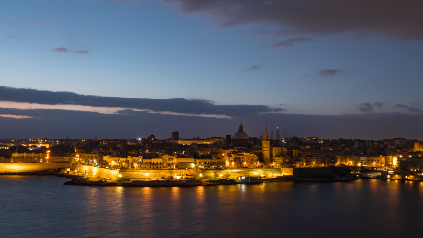 Morning night to day timelapse of Valletta old town, Malta