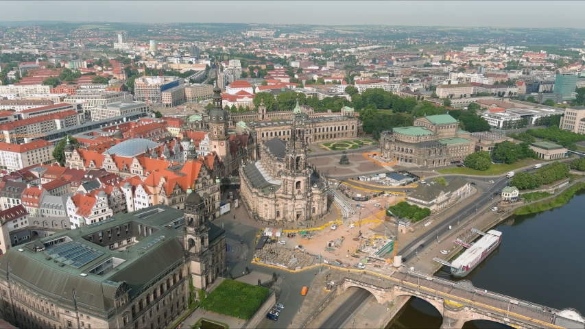 Aerial view of cityscape of Dresden, baroque palace Zwinger and opera house Semperoper Dresden in historic centre of capital city of Saxony - landscape panorama of Germany from above, Europe