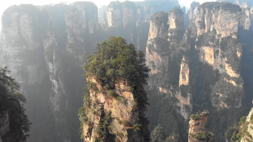 Zhangjiajie Avatar mountains film by a drone