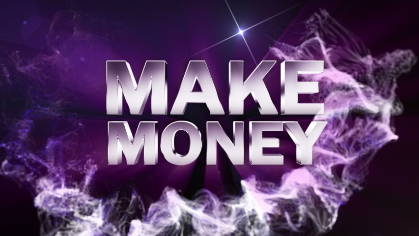 Make Money Text Animation in Particles Ring, Background, 4k