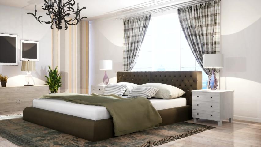 Bedroom interior. Bed. 3d illustration | Shutterstock HD Video #1054735781